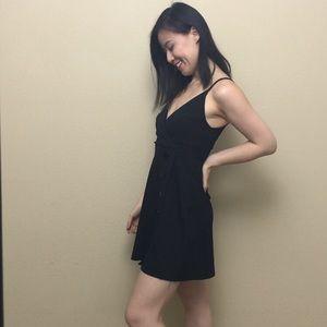 Silence and noise plunge neckline mini black dress